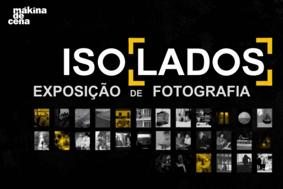 Cartaz da Exposição com fundo preto e blocos de fotos a ilustrar