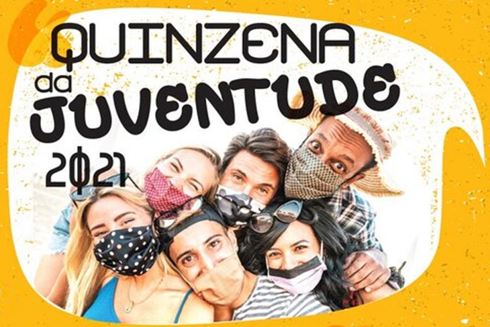 Cartaz fundo amarelo com jovens com o nome da iniciativa