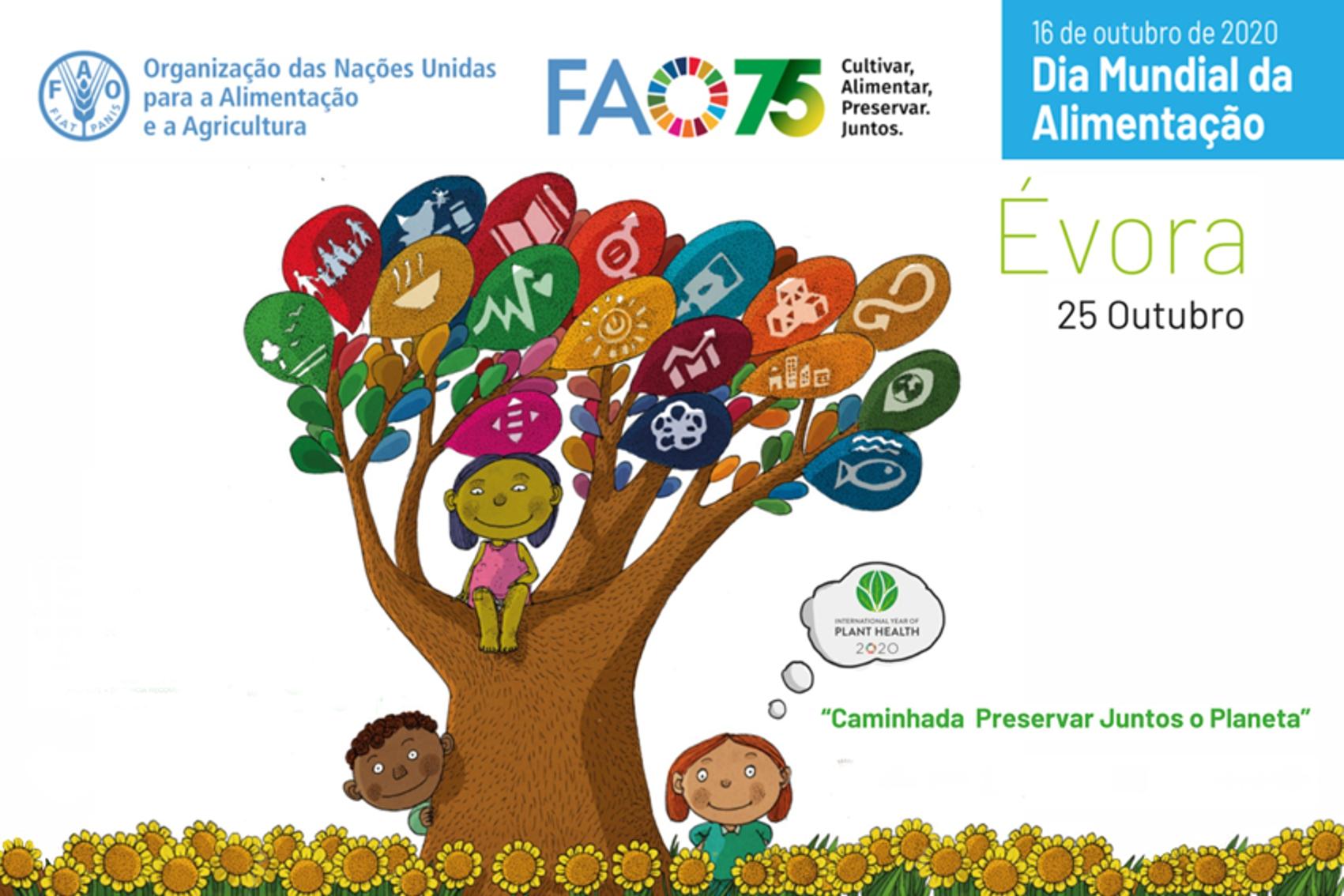 Imagem com árvore e ODS como ramos com crianças à espreita - cartaz da caminhada