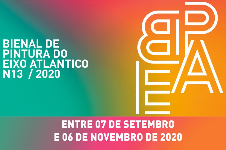 """Cartaz com fundo tipo arco-íris e diz """"Bienal de Pintura do Eixo Atlantico de 7 de setembro a 6 de novembro de 2020"""""""