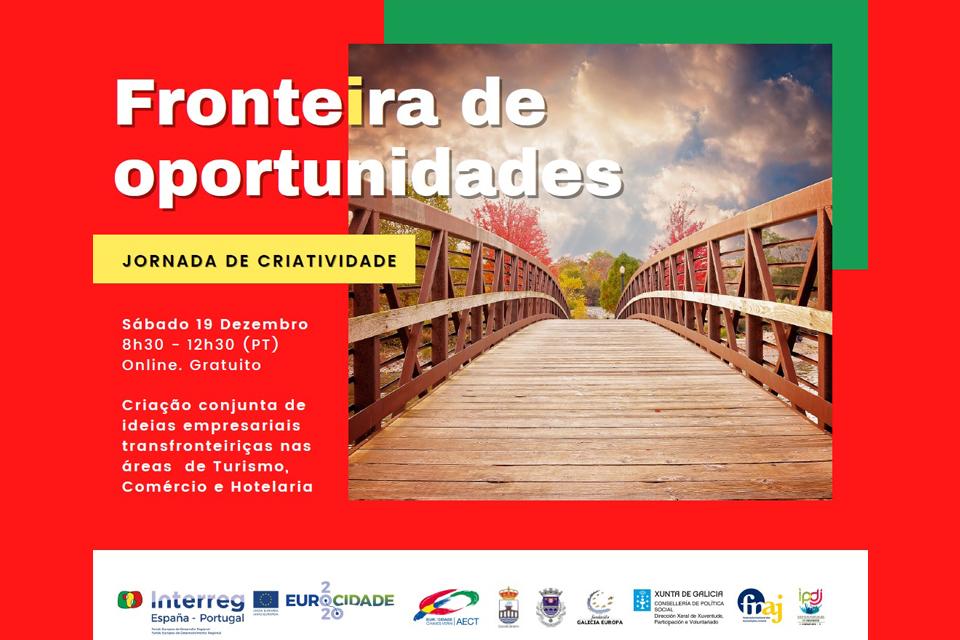 """Imagem do cartaz do evento  """"Fronteira de oportunidades"""" jornada de criatividade, sábado 19 dezembro das 8h30-12h30"""