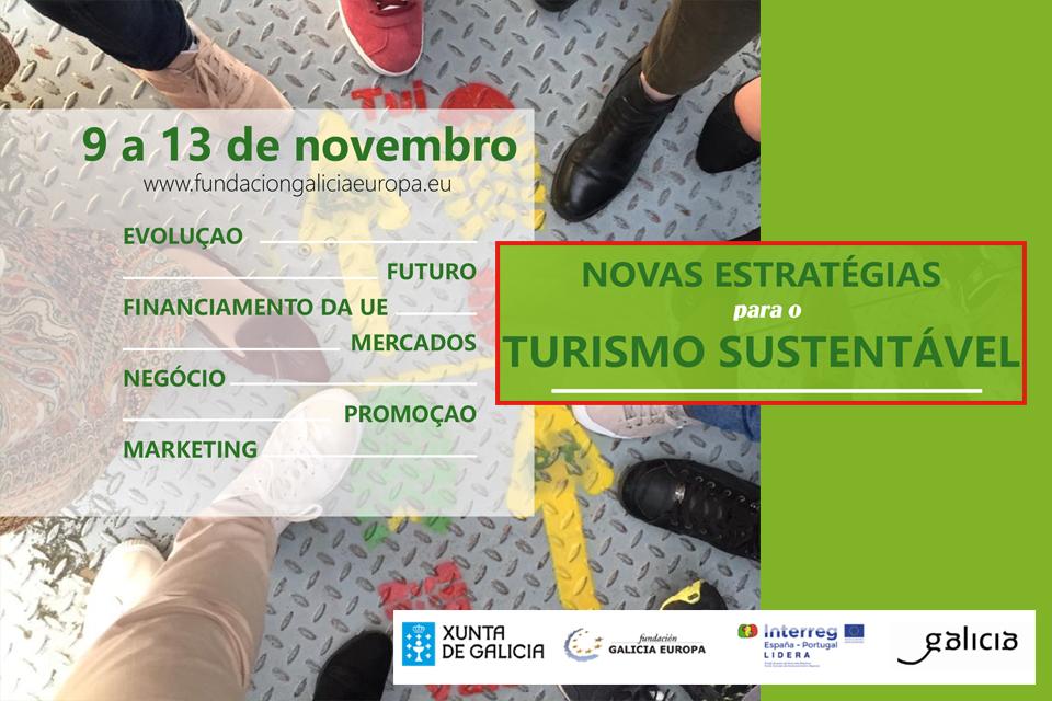 cartaz para uma ação de  formação online sobre Novas Estratégias para o Turismo Sustentável de 9 a 13 de novembro