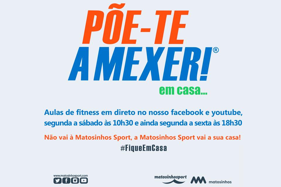 Cartaz do evento Põe-te a mexe! em casa ... às aulas Fitness online, com acompanhamento por técnicos de desporto em direto.