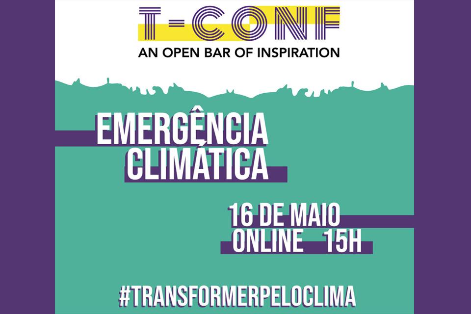 """imagem gráfica do evento com o tituo """"T-CONF"""" e data 16 de maio"""