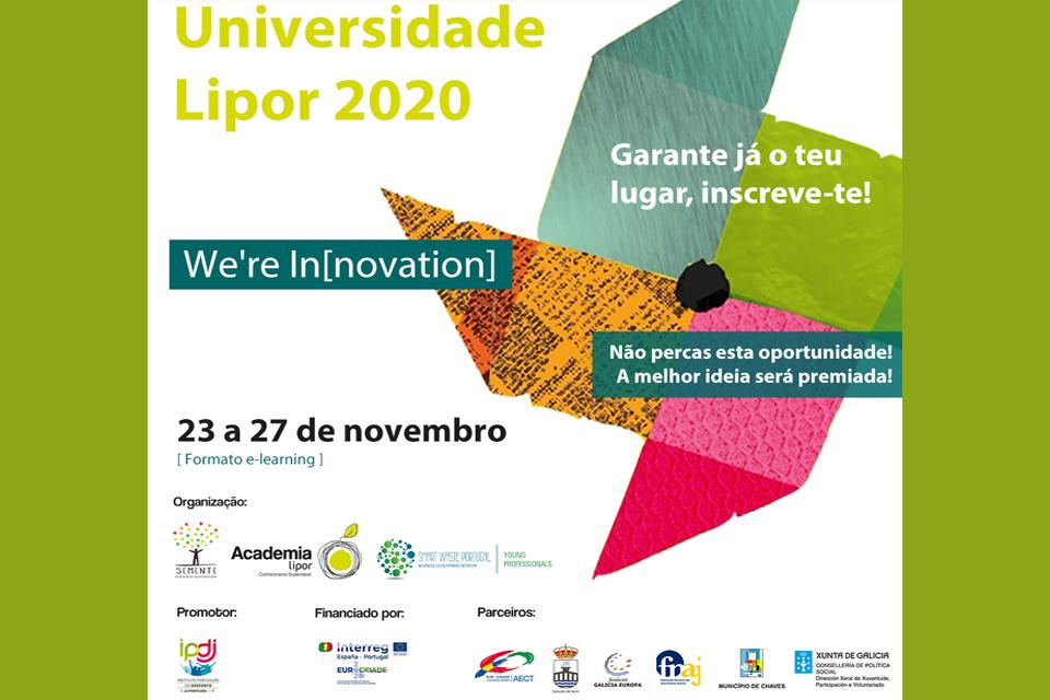 Cartaz de divulgação da formação online We are inovation 23 a 27 de novembro 2020 promovido pela Universidade Lipor