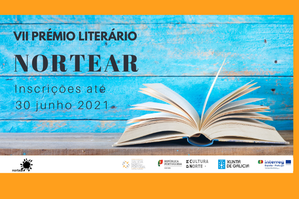 Cartaz do VII Prémio Literário Nortear inscrições até 30 de junho 2021 imagem de um livro aberto.