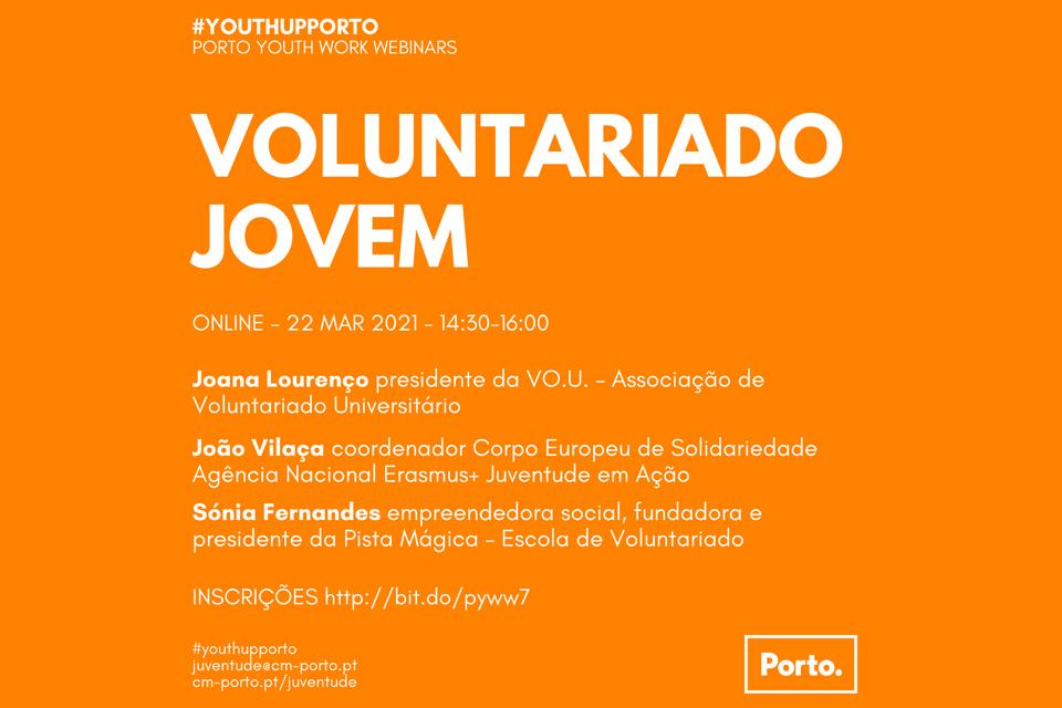 Cartaz Porto Youth Work Webinars: Voluntariado Jovem Online