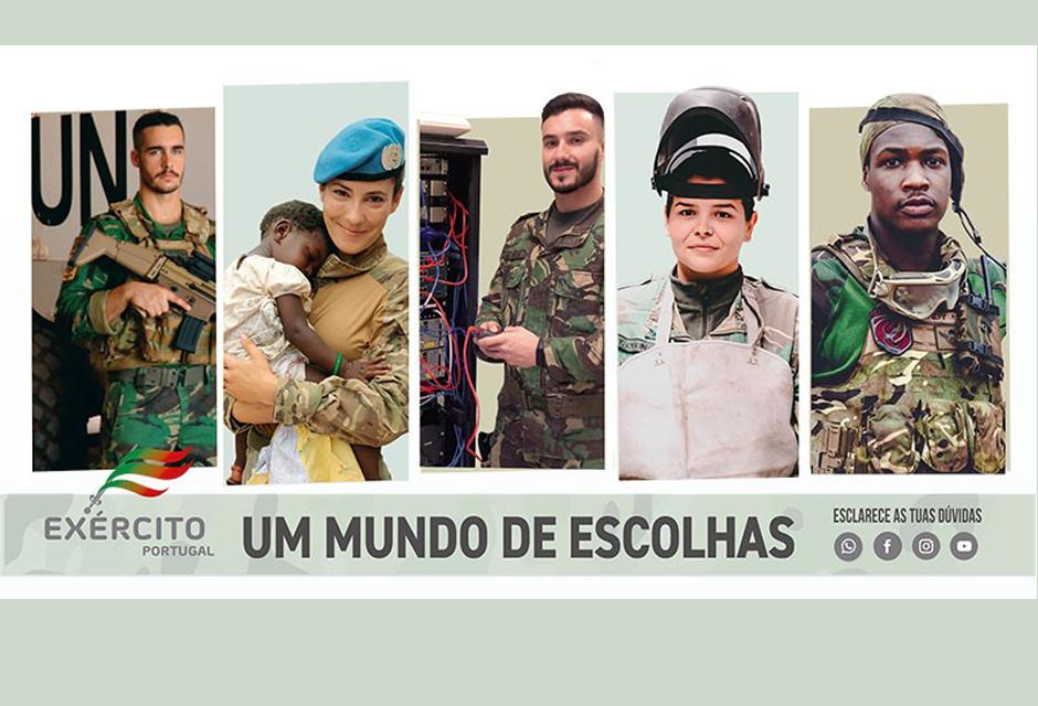 Cartaz com 5 fotografias de soldados, homens e mulheres, diz - exército português, um mundo de escolhas