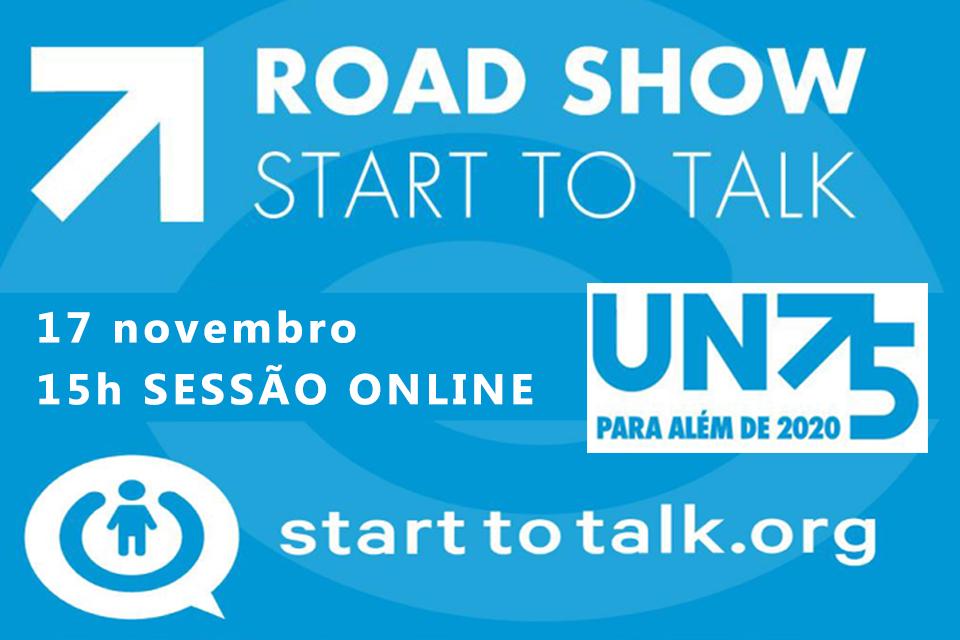 Imagem do cartaz em fundo azul a divulgar a sessão online no dia 17 de novembro ás 15h sessão online