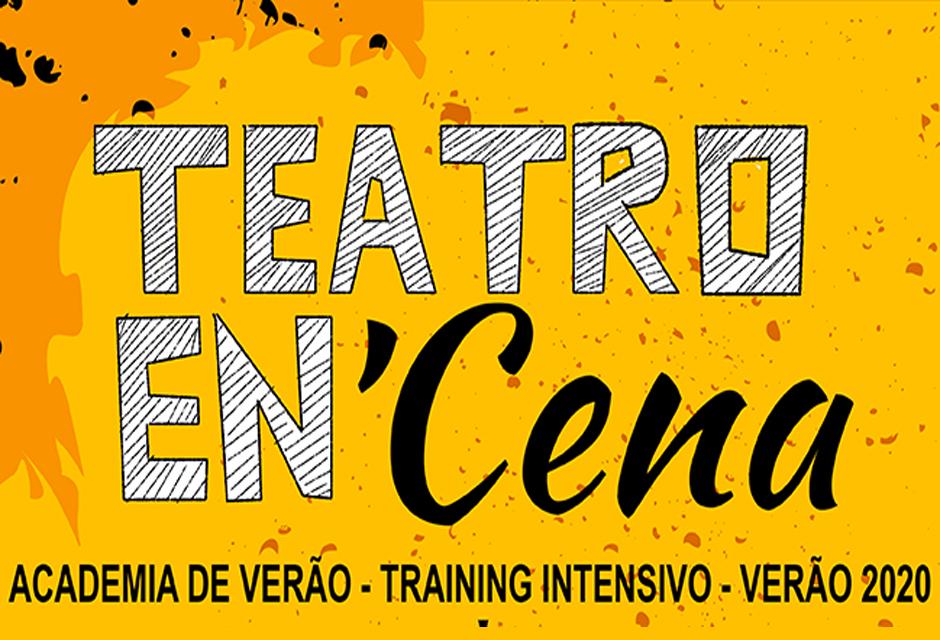 Cartaz com o fundo em amarelo, diz, Teatro En´Cena, academia de verão, training intensivo, verão 2020