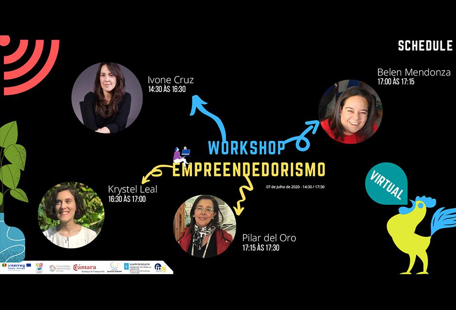 cartaz do evento , diz: workshop de empreendedorismo de 7 de julho de 2020 - 14:30 às 17:28 , tem quatro fotografias da formadoras