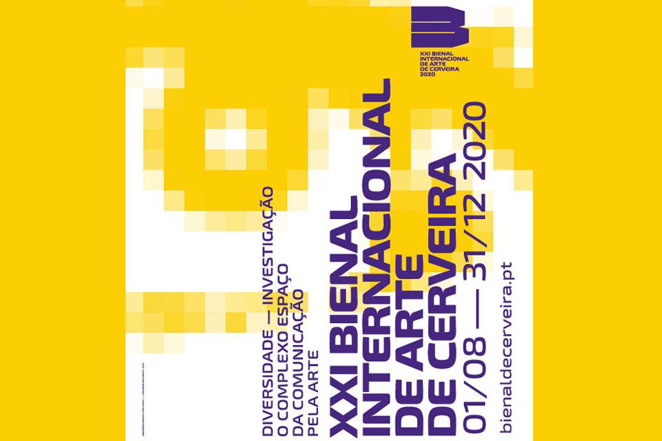 cartaz a dizer XXI BIENAL INTERNACIONAL DE ARTE DE CERVEIRA  1 de agosto a 31 de dezembro de 2020