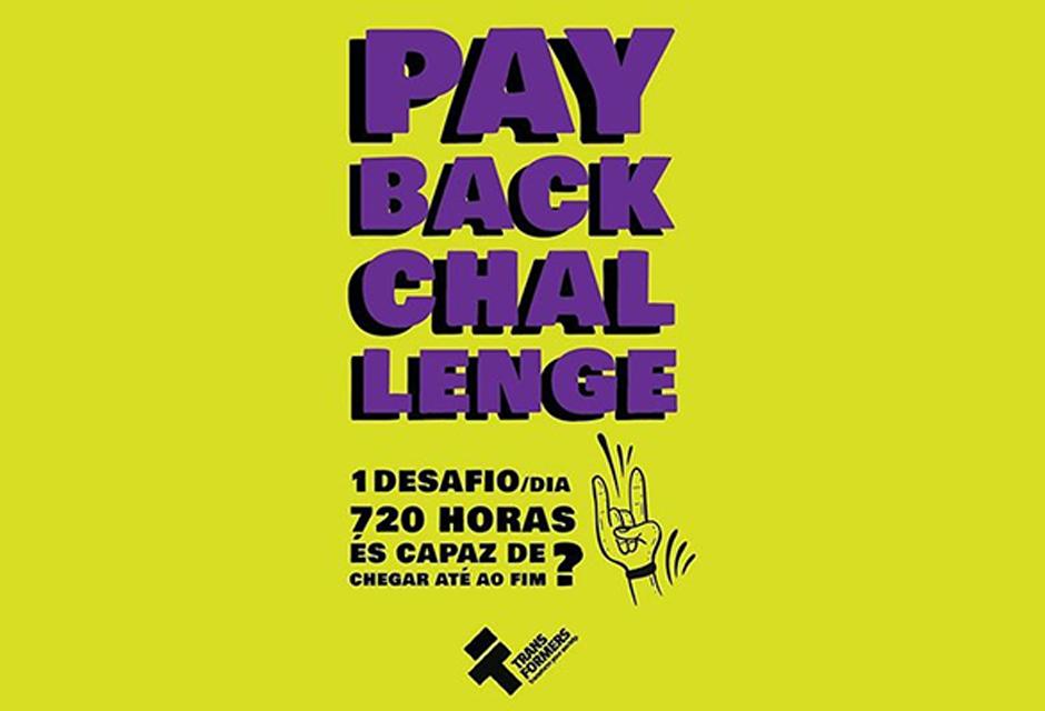 Imagem do cartaz em fundo amarelo, diz: playbackchalenge 1 desafio/dia 720 horas, és capaz de chegar ao fim?