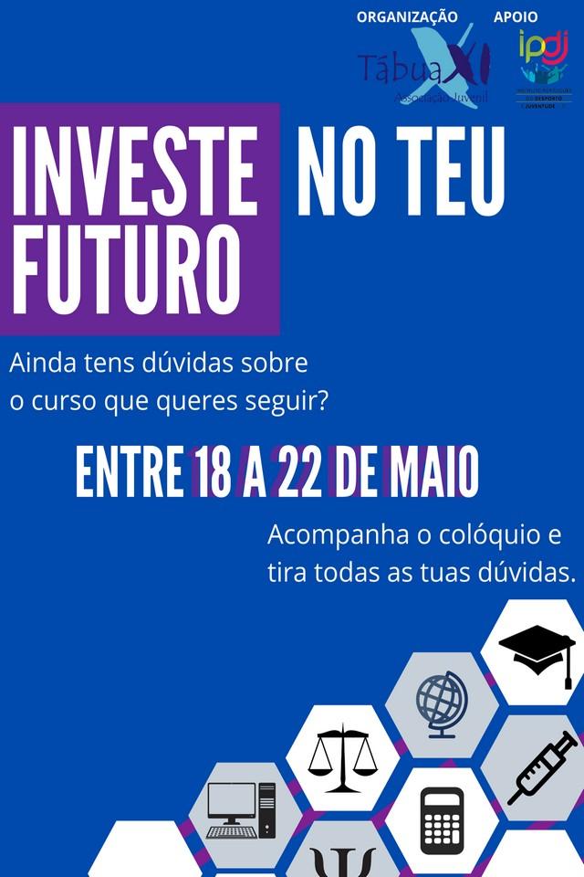 cartaz azul com logótipos de vários cursos do ensino superior
