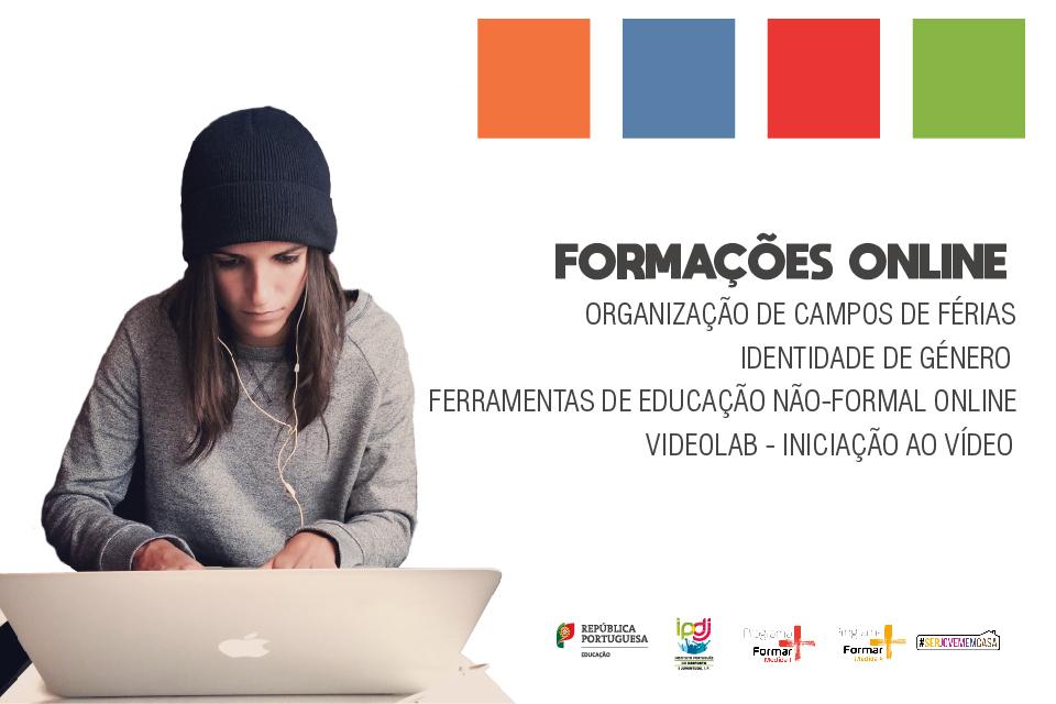 Imagem ilustrativa das formações online a realizar nos meses de maio e junho pela Direção Regional do Algarve do IPDJ
