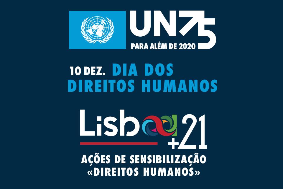 Imagem com lettering alusivo ao dia dos Direitos Humanos e sessões lisboa 21
