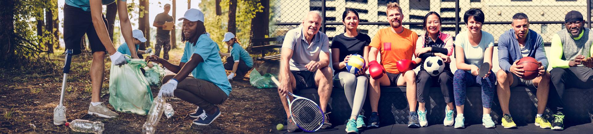 O lado esquerdo da imagem apresenta jovens a recolher lixo na floresta e do lado esquerdo da imagem  apresenta sete pessoas de várias idades e etnias sentadas num banco a sorrir. Umas com bolas e outra uma raquete na mão.