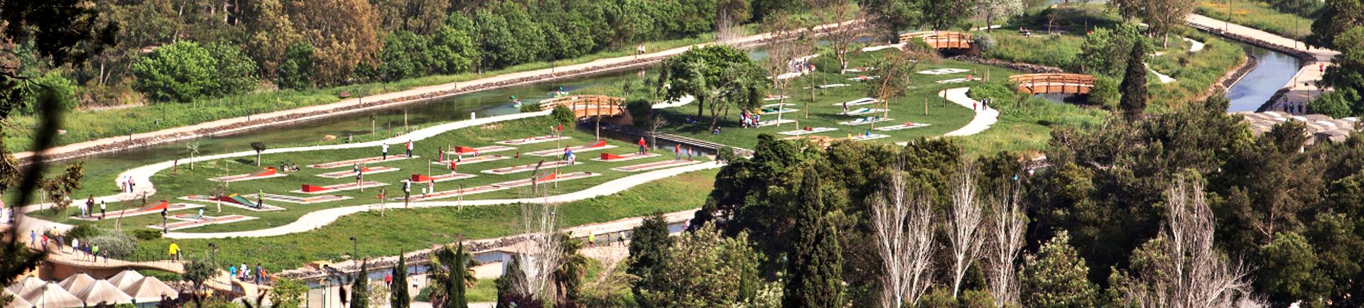 Vista aérea do parque de minigolfe do Centro Desportivo Nacional do Jamor
