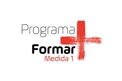 Imagem gráfica do logo Formar Mais versão vermelha
