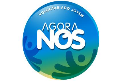 Imagem grafica do logo AGORA NOS mão a segurar o mundo