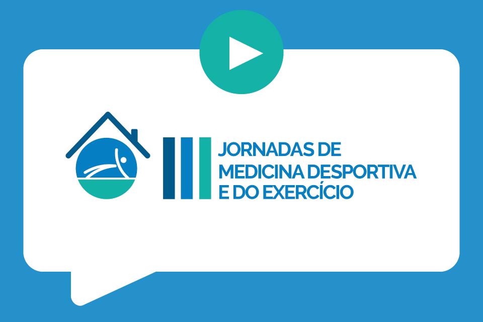 Logotipo azul e branco com o lettering: III Edição das Jornadas de Medicina Desportiva e do Exercício