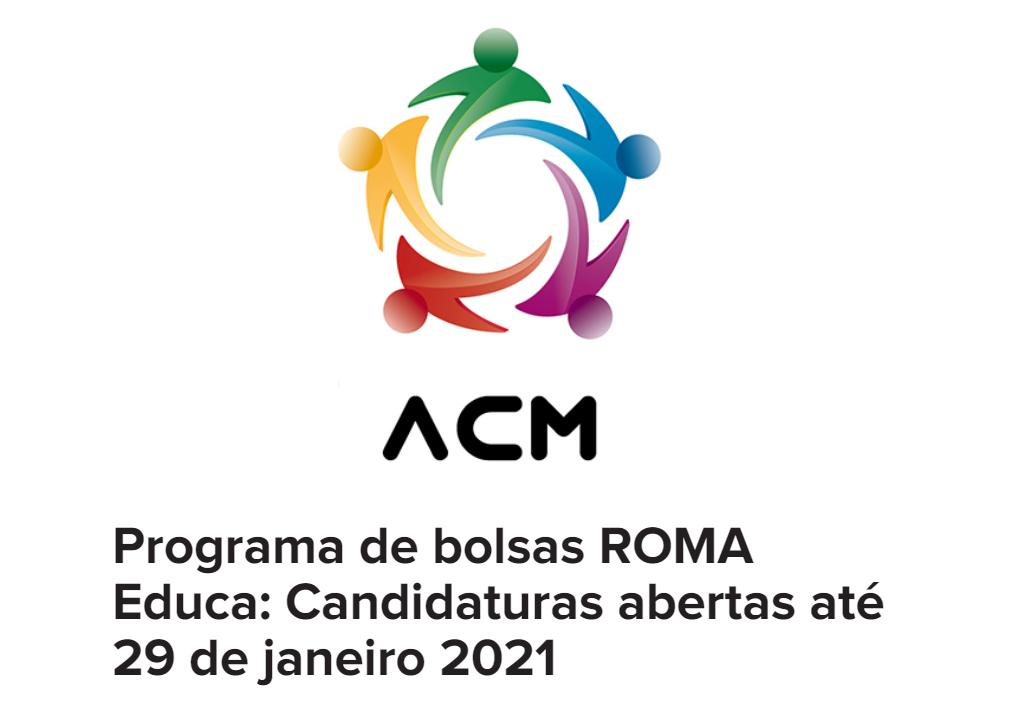 Logótipo do ACM e lettering Programa Bolsas Roma Educa