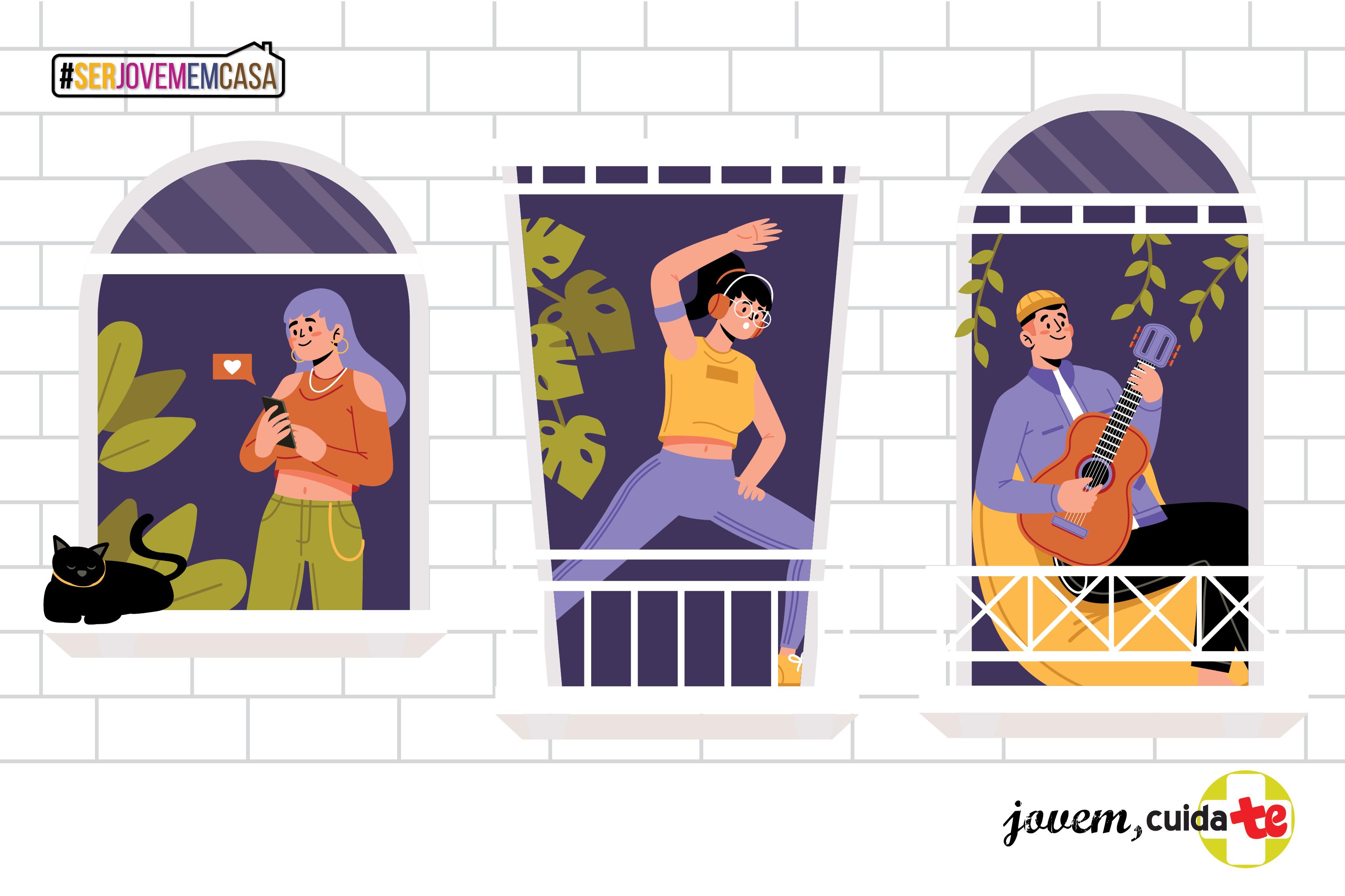 imagem gráfica de três jovens em atividades distintas em janelas de edifício