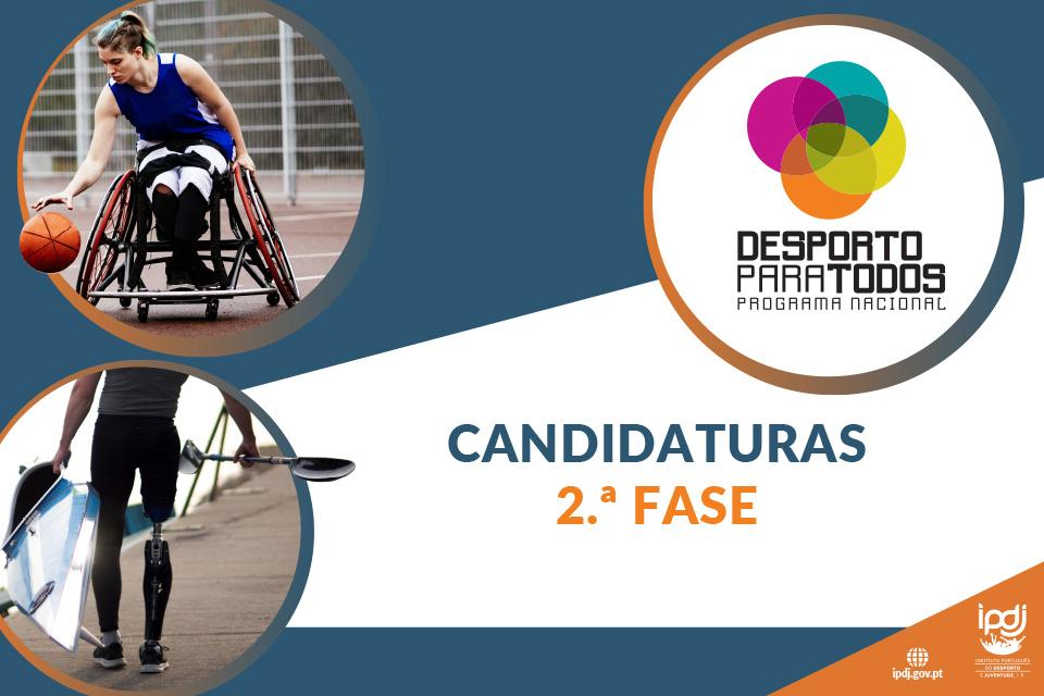 imagem com a incrição «PNDpT - candidaturas- 2.ª fase» e 2 imagens de atletas portadores de deficiência