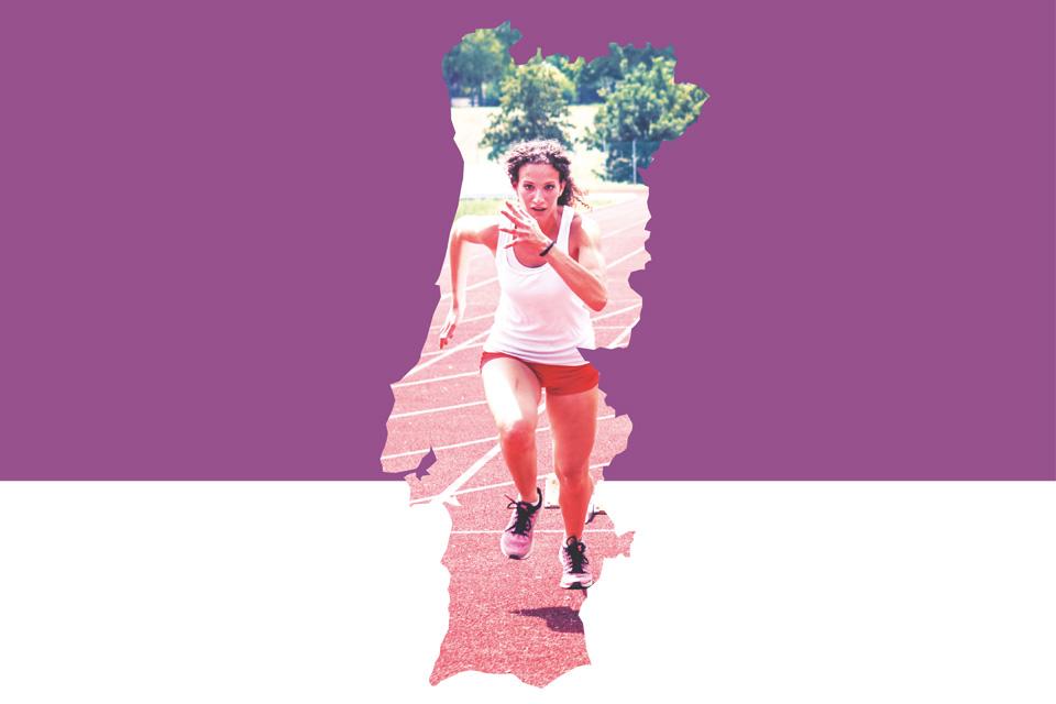 mapa de portugal com imagem de mulher a correr