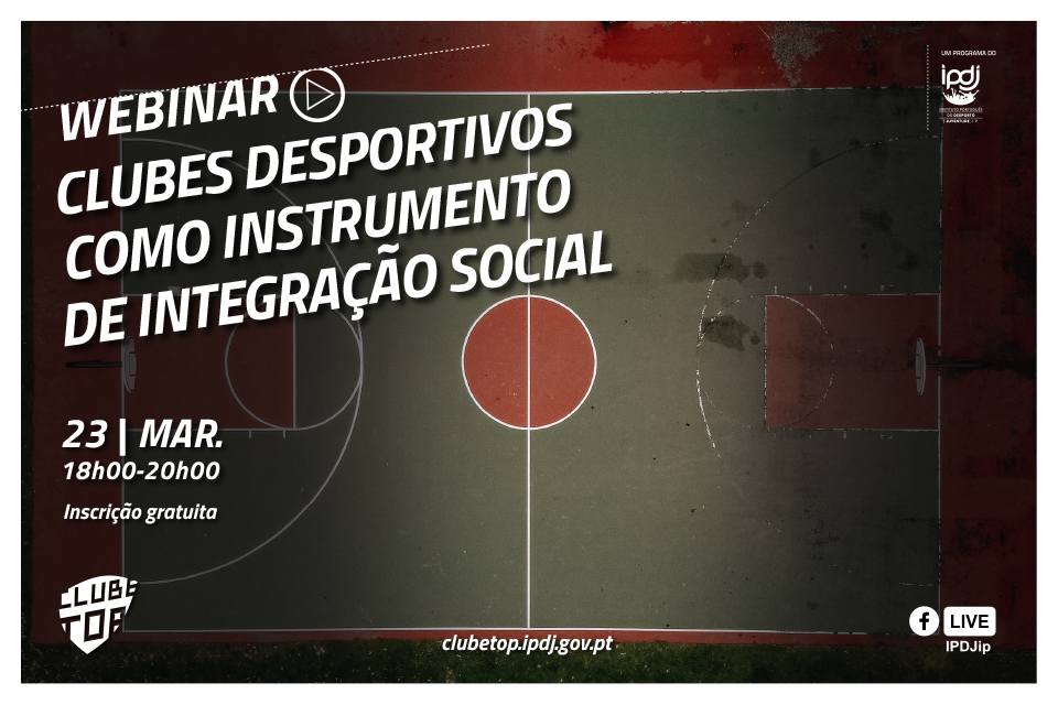 Campo de ténis com o lettering «Webinar |  Clubes desportivos como instrumento de integração social»
