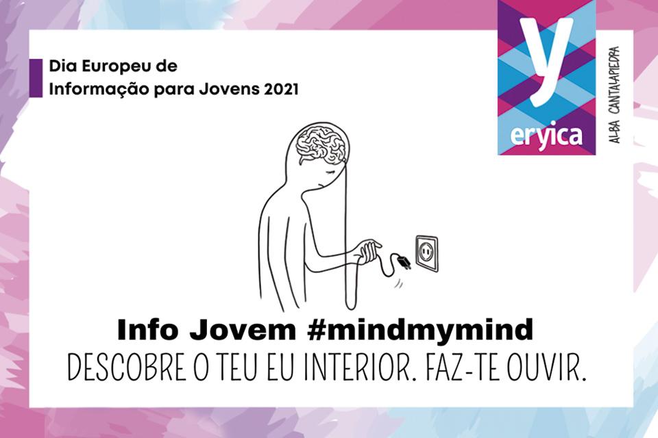 Imagem desenhada de um jovem com uma ficha na mão e uma ficha fêmea na parede. Lettering #Mindmymind Descobre o teu eu interior. Faz-te ouvir.