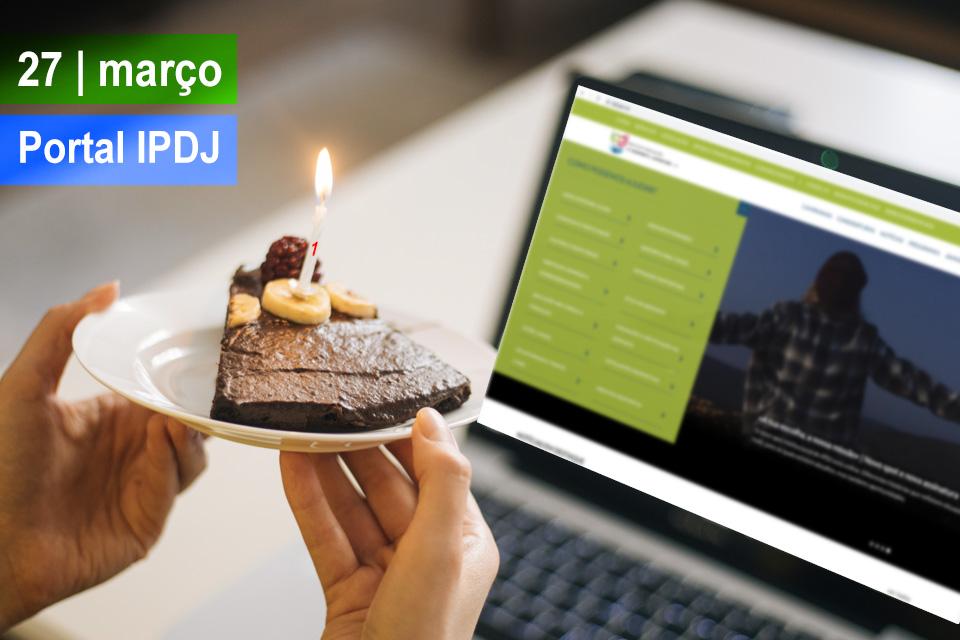 imagem de frontopage do portal com um bolo com vela.
