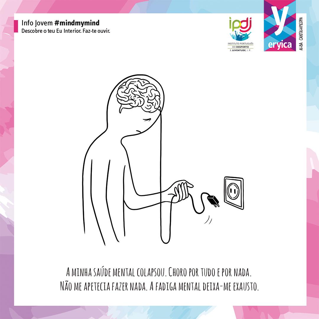Imagem desenhada de ser humano com uma ficha elétrica a ligar o cérebro a um interruptor como o lettering da Campanha #mindmymind.