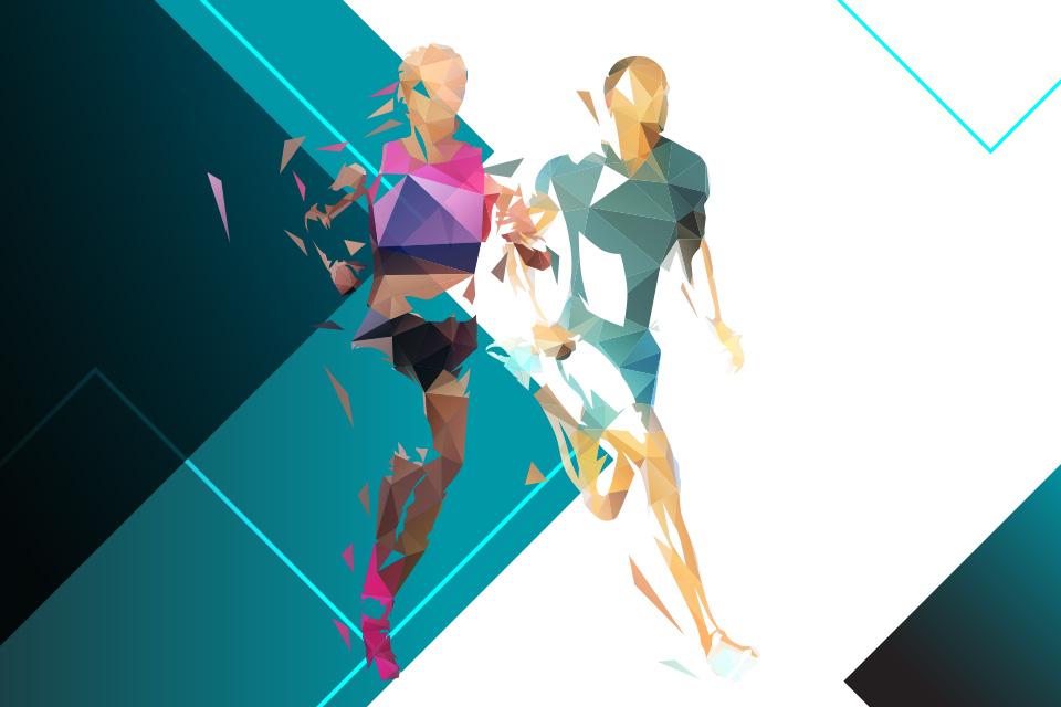 grafismo representando um homem e uma mulher a correr a par