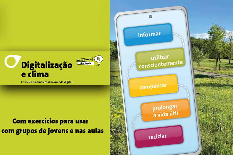 Fundo verde, dum lado e um campo verde do outro, com lettering:  «Digitalização e clima. Consciência ambiental no mundo digital»