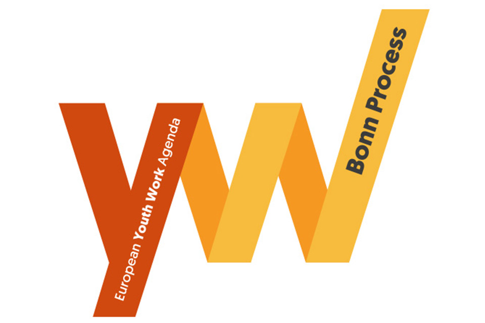 Lettering estilizado cor de laranja WY (Youth Work).