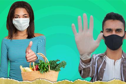 Casal de jovens protegidos com luvas e mascaras saudam