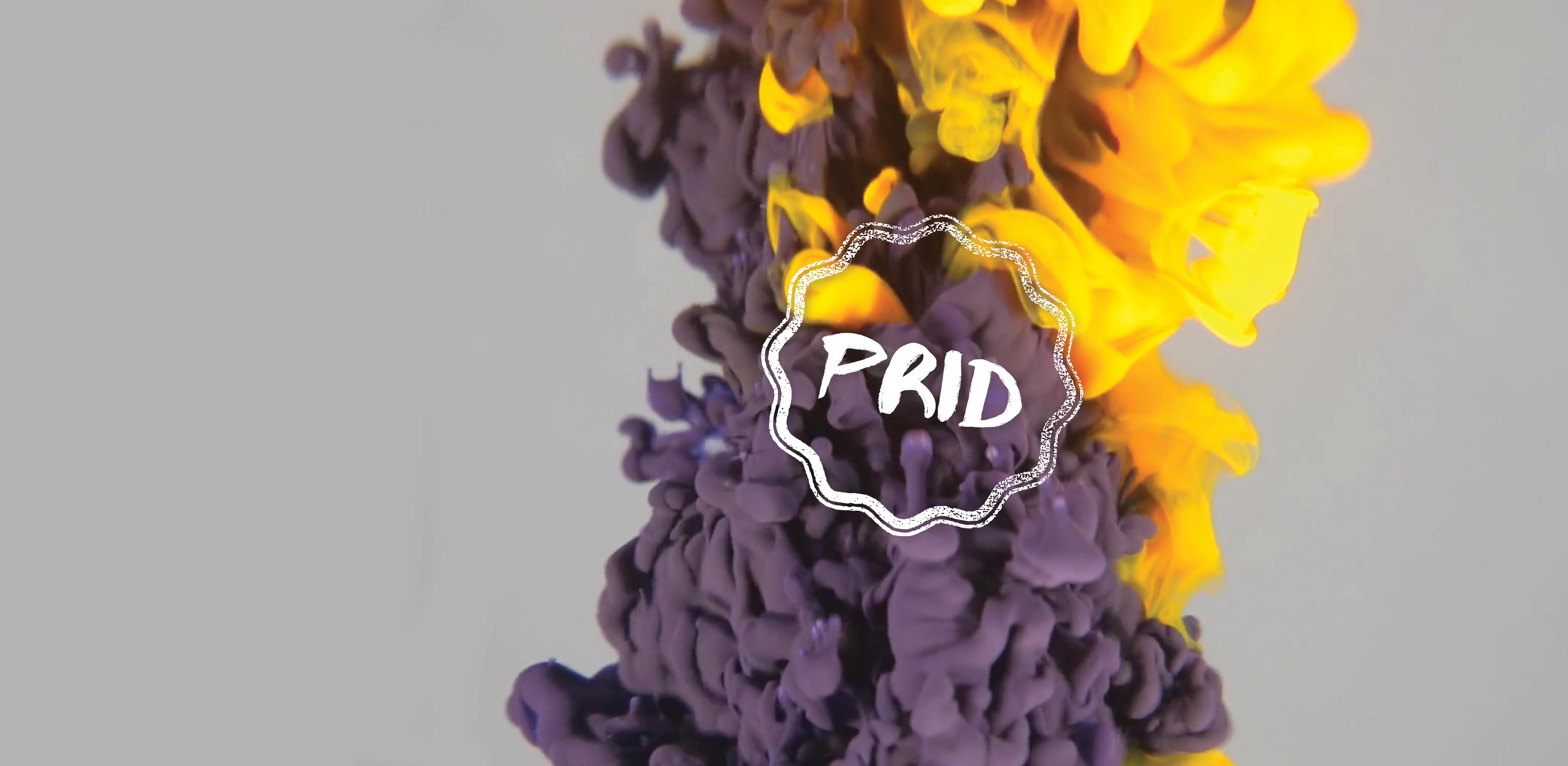 imagem de tinta de várias cores a diluir-se com a inscrição PRID por cima
