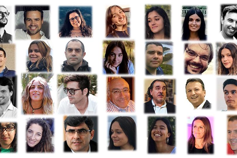 Cartaz do evento com rostos de alguns participantes.