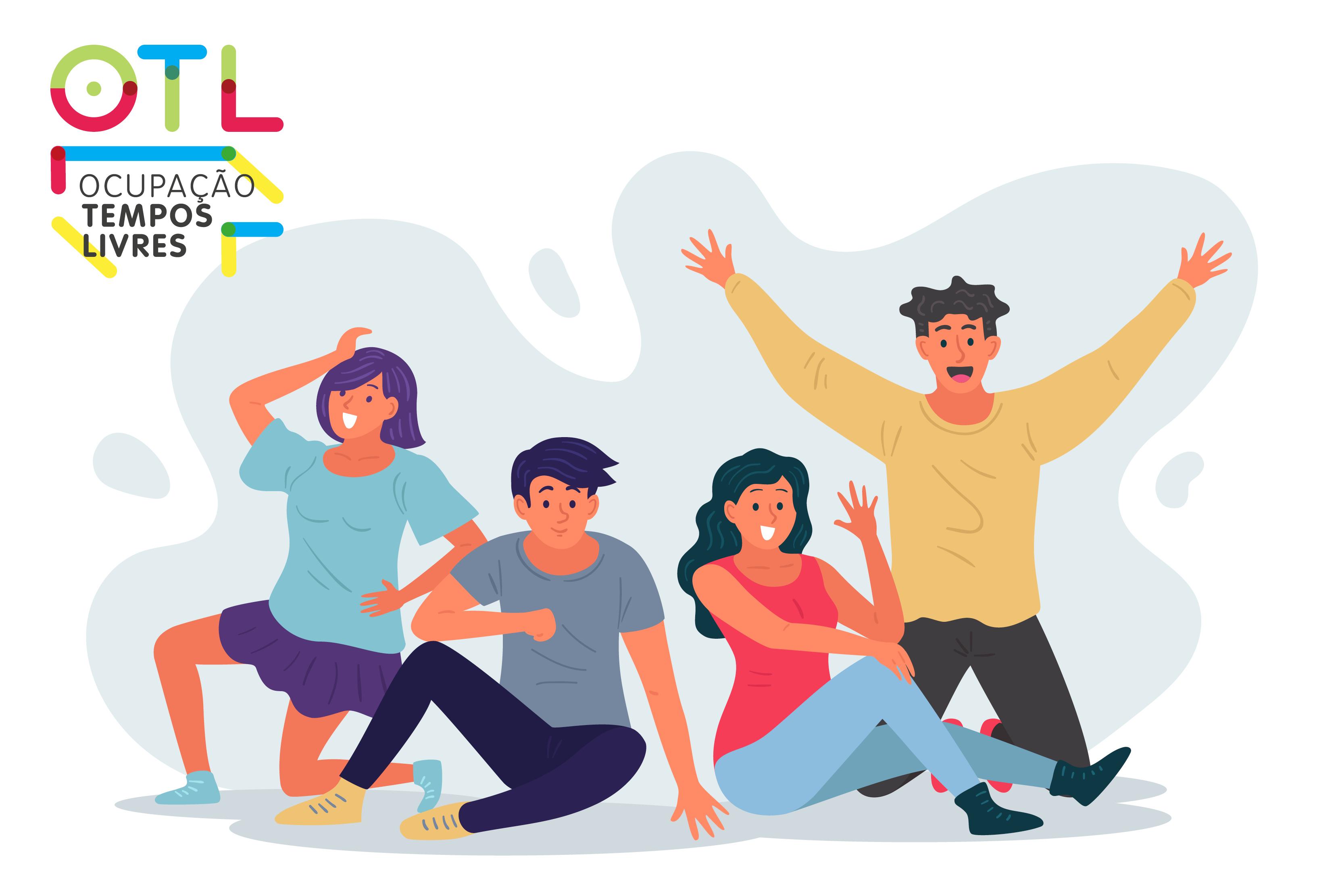 animação com quatro jovens com um ar feliz