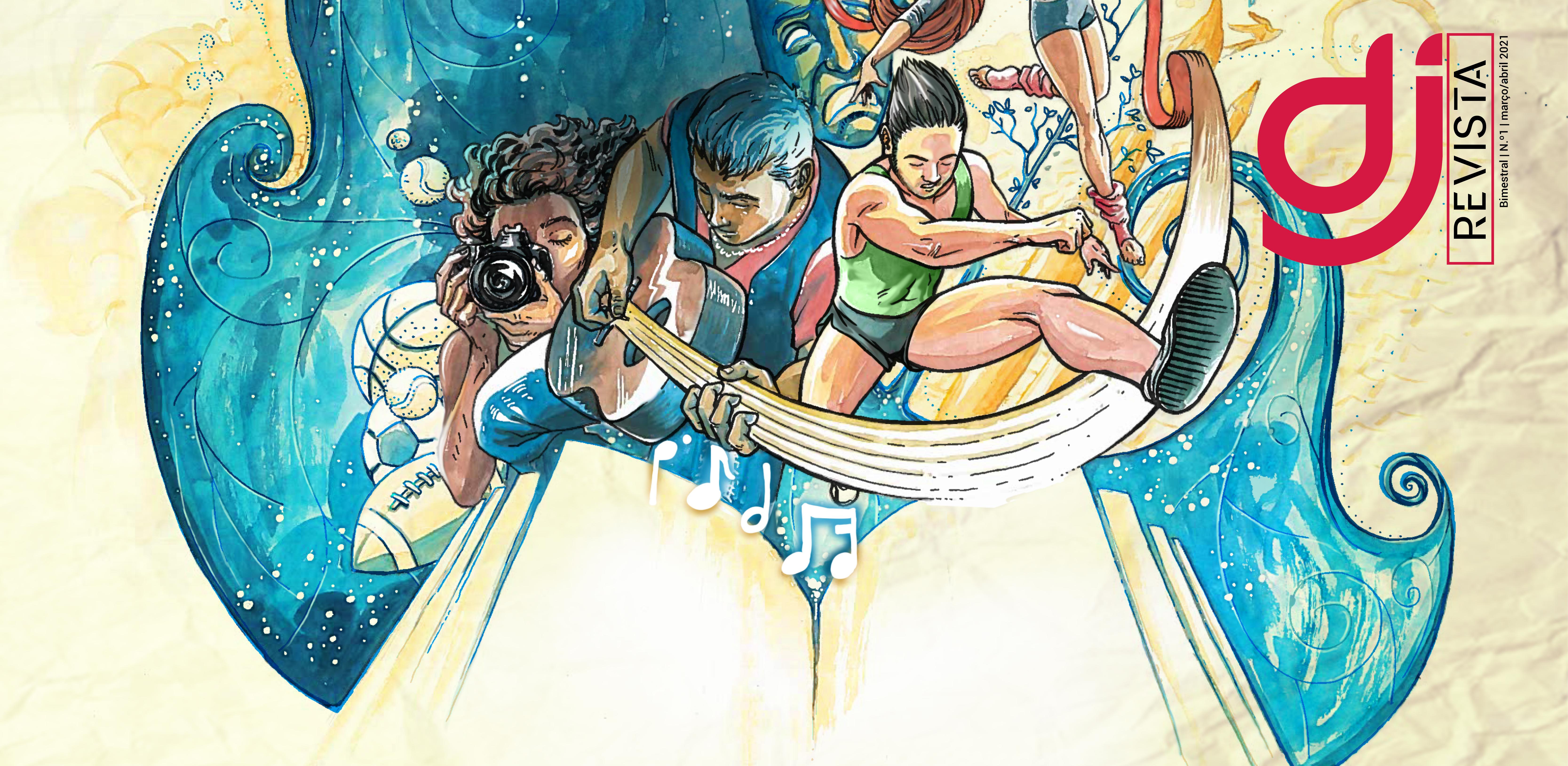 capa da revista DJ número um (abril/maio) com imagem gráfica simbólica de desportos e juventudes.