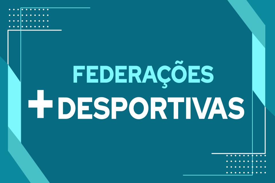 grafismo azul com inscrição federações mais desportivas