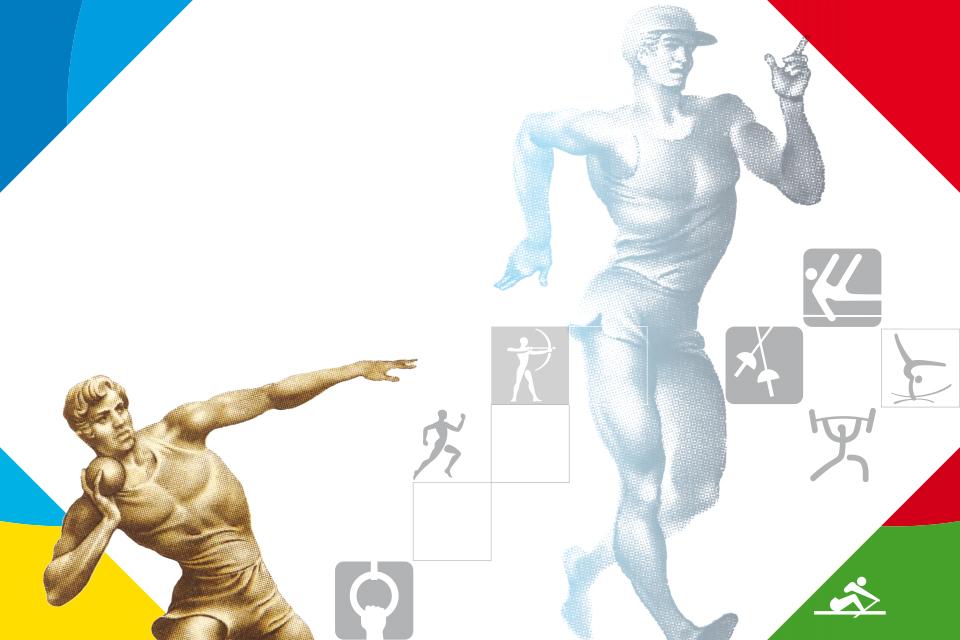 Fundo branco com duas imagens tipo infografia com dois atletas masculinos, um em marcha a corpo inteiro e outro a fazer lançamento do peso. Alguns pictogramas de modalidades olímpicas espalhados pela parte inferior da imagem.