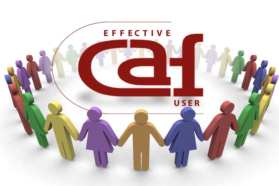 Grupo de humanos em modelo infográfico com logotipo/letering «Effective CAF User»