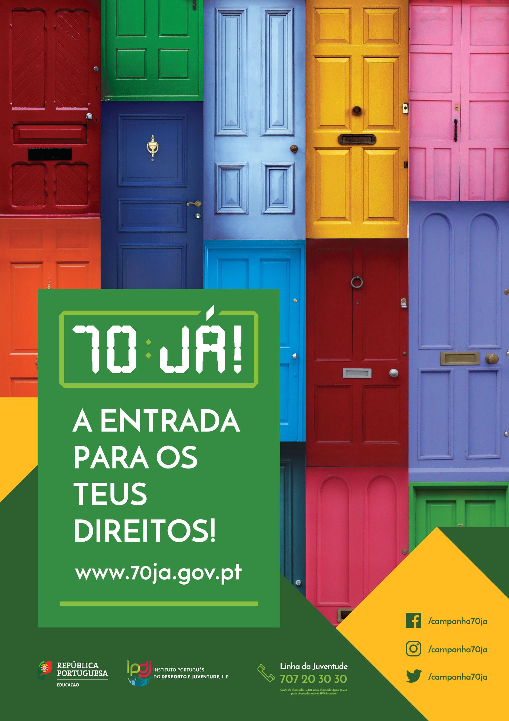 imagem da campanha mostrando poratas de várias cores e o slogan «70JÁ! A entrada para os teus direitos»!