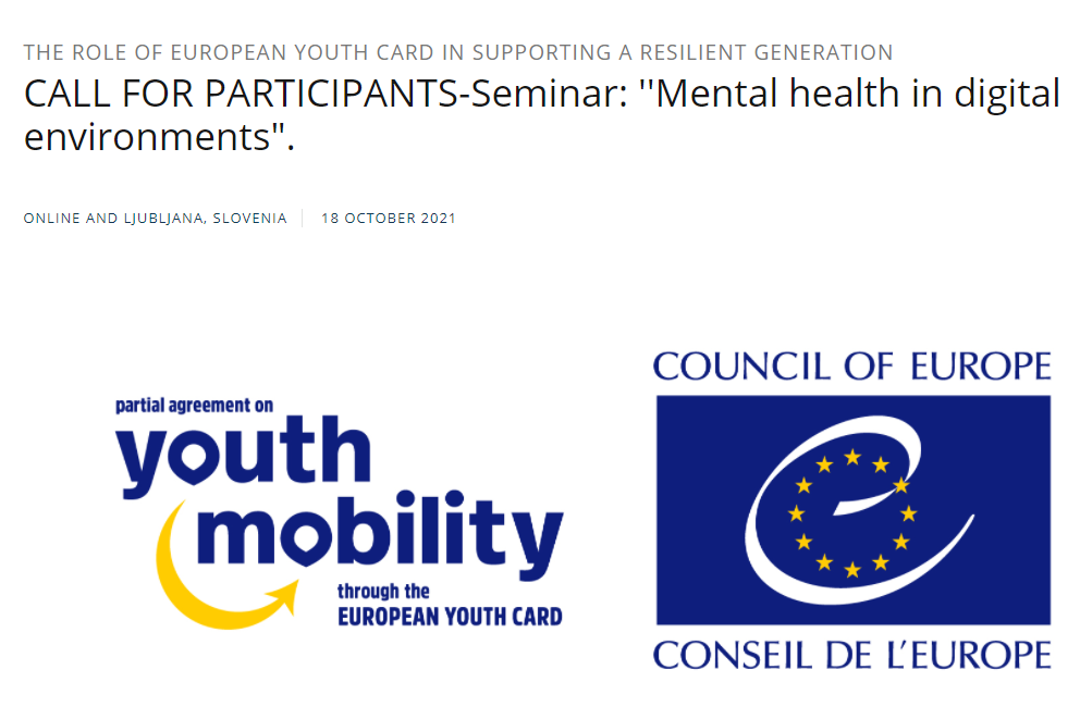 Lettering seminar Mental health in digital environments  The role of European Youth Card in supporting a resilient generation e logotipos do Conselho da Europa e da EYCA
