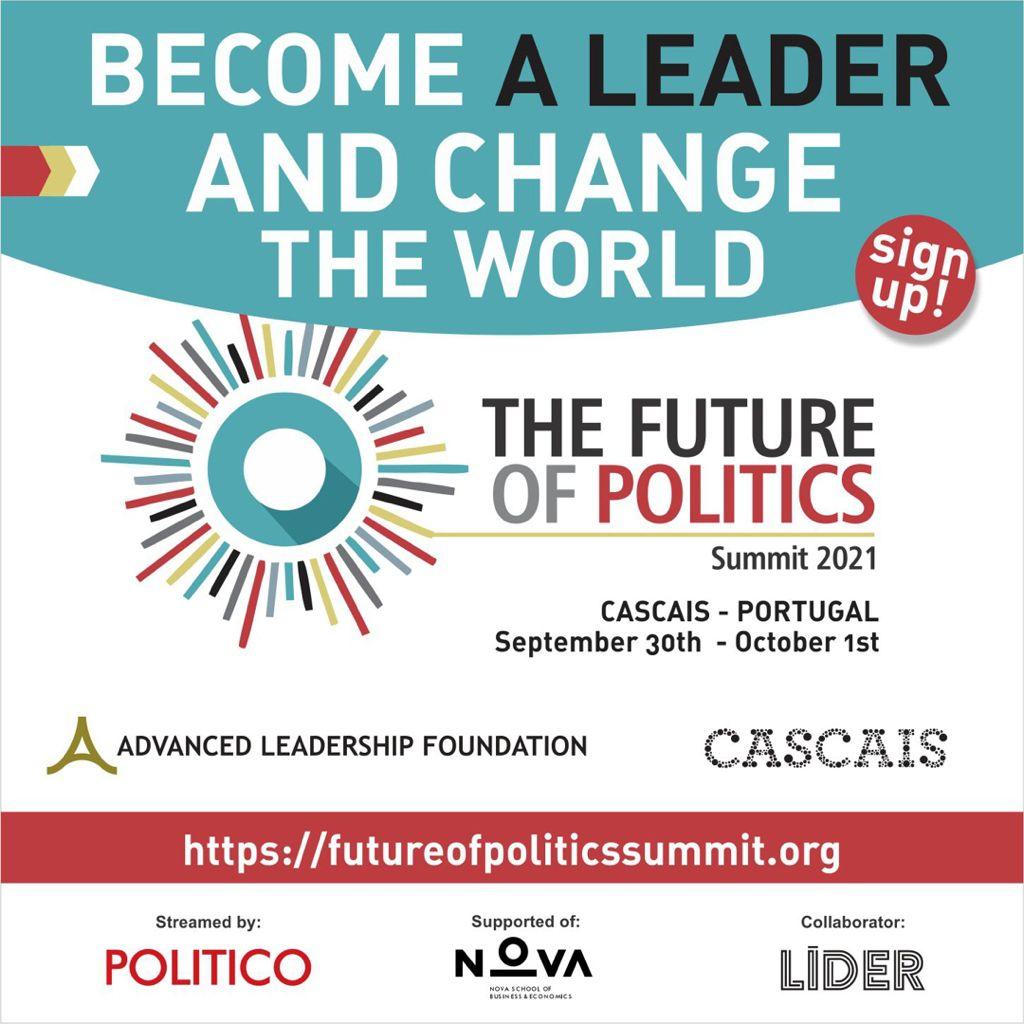 Logotipo da Cimeira do Futuro da Politica, com lettering em inglês com o nome do evento